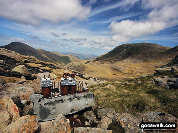 Airplane wreckage below Broad Crag buttress, just off the corridor route to Scafell Pike. Walk route map c454 Scafell Pike via The Corridor Route from Seathwaite photo