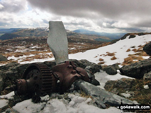 The propeller from a crashed Mosquito aircraft on Aran Fawddwy