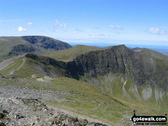 Hopegill Head and Hobcarton Crag from Grisedale Pike. Walk route map c408 Grisedale Pike and Causey Pike from Braithwaite photo