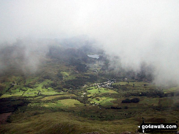 Beddgelert from the summit of Moel Hebog during a brief break in the mist