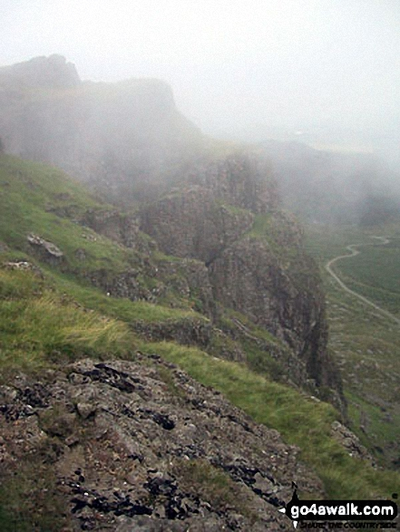 Approaching Moel Lefn in mist
