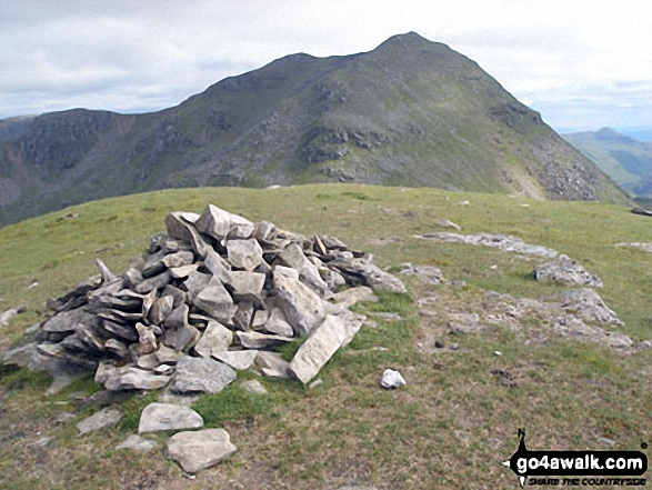 Beinn Chorranach summit cairn with Beinn Ime beyond