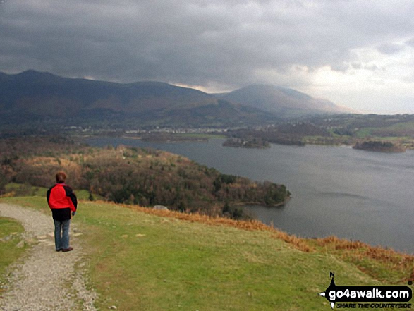 Wonderful view over Derwent Water from Cat Bells (Catbells) and the walk across the top of the fell. Walk route map c399 Cat Bells and Derwent Water from Keswick photo