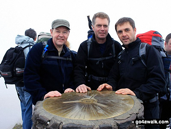 Me, Paul and Andy on top of Snowdon. Walk route map gw105 Snowdon via The Watkin Path from Nantgwynant photo