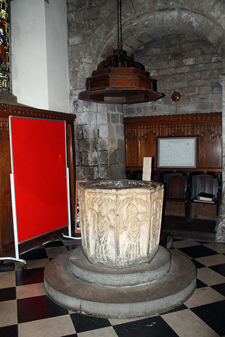 The font inside All Saints Church, Bakewell