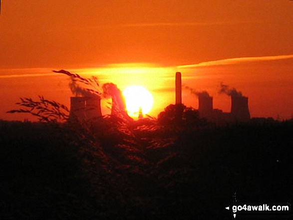 Sunset beyond Didcot Power station from Cameron's Copse, South Stoke