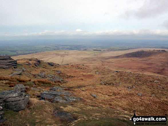 West Mill Tor from Yes Tor with Okehampton and North Devon in background