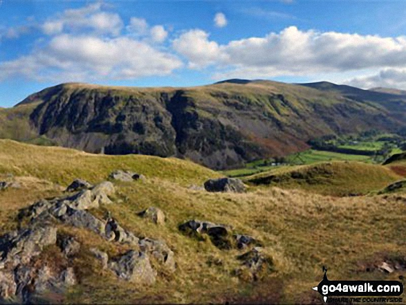 Clough Head, Fisher's Wife's Rake, Calfhow Pike, Great Dodd, Watson's Dodd, Stybarrow Dodd, Raise (Helvellyn) and Helvellyn from the summit of High Rigg