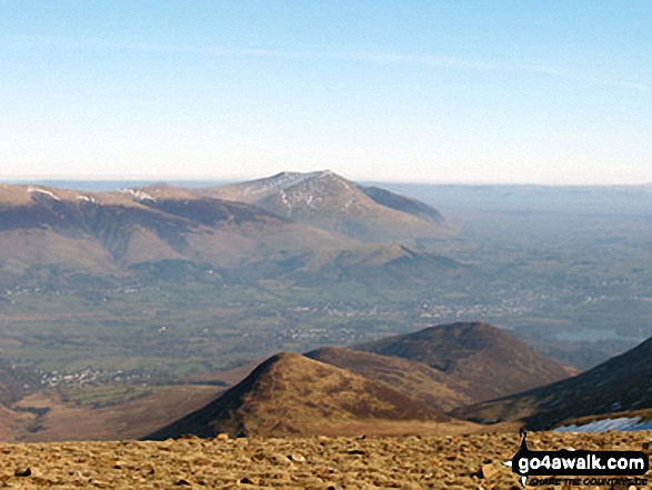 Blencathra (or Saddleback) and Keswick (distance) & Outerside and Stile End (foreground) from Crag Hill (Eel Crag) trig point. Walk route map c408 Grisedale Pike and Causey Pike from Braithwaite photo
