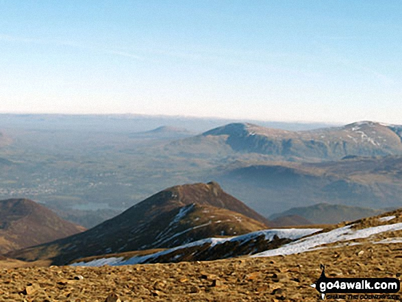 Sail and Causey Pike (foreground) & The Central Fells - Bleaberry Fell, High Seat and High Tove from Crag Hill (Eel Crag) trig point