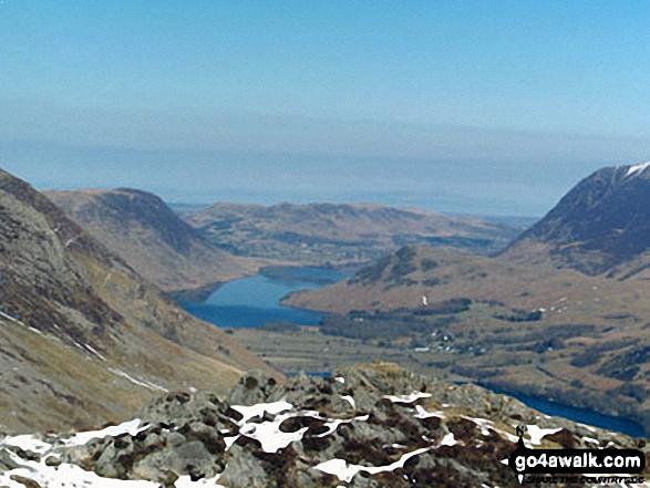Mellbreak (left) Crummock Water, Buttermere Village, Rannerdale Knotts and the shoulder of Grasmoor (right) from Hay Stacks (Haystacks)