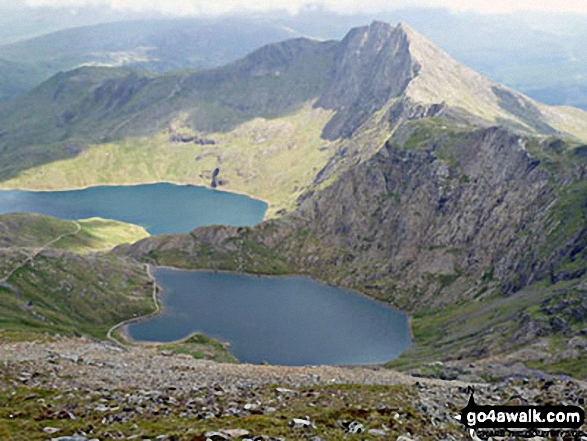 Glaslyn (bottom), Llyn Llydaw and Y Lliwedd (right) from the top of The PYG/Miners' Track, Snowdon