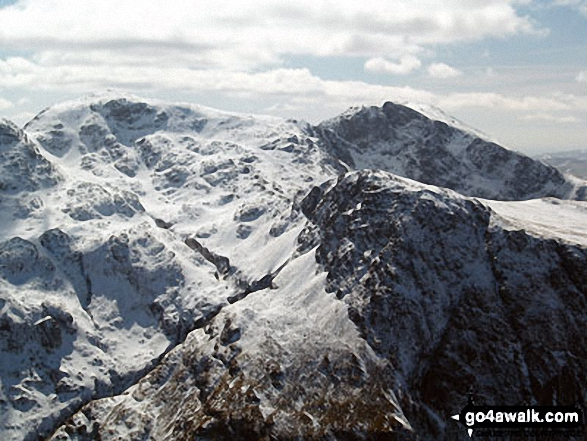 Snow on Scafell Pike (left), Sca Fell (right top) and Lingmell (right centre) from Westmorland Cairn on Great Gable
