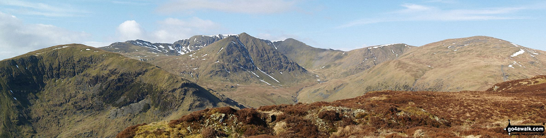 Birkhouse Moor (foreground left), Catstye Cam (foreground centre), White Side (centre right) and Raise (Helvellyn) (right) with Striding Edge, Helvellyn and Lower Man (Helvellyn) in the background from Sheffield Pike