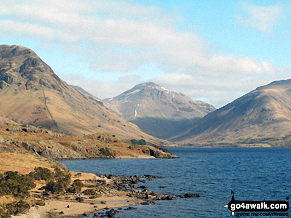 Yewbarrow (left), Great Gable and Lingmell (right) from Wast Water. Walk route map c111 Scafell Pike from Wasdale Head, Wast Water photo