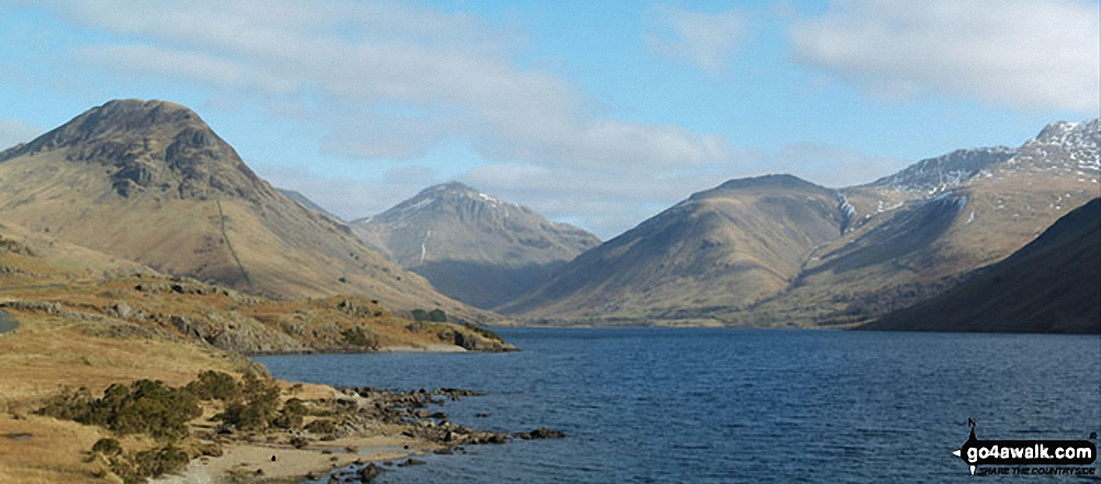 Walk c364 Seatallan and Haycock from Wast Water - Yewbarrow (left), Great Gable and Lingmell (right) and Scafell Pike (far right) from Wast Water