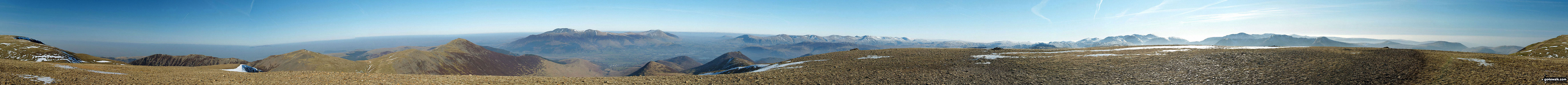 The Coledale Horseshoe from Crag Hill (Eel Crag) trig point featuring: Grasmoor, Grasmoor, Whiteside (Crummock) (West Top), Whiteside (Crummock), Gasgale Crags, Hopegill Head, Sand Hill, The top of Hobcarton Crag, Grisdale Pike, The Skiddaw massif, Blencathra (or Saddleback), Keswick, Sleet How, Outerside, Stile End, Sail, Causey Pike, Bleaberry Fell, High Seat, High Tove, The Southern Fells and The Western Fells