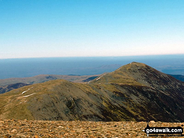 The top of Hobcarton Crag and Grisdale Pike from Crag Hill (Eel Crag) trig point. Walk route map c408 Grisedale Pike and Causey Pike from Braithwaite photo