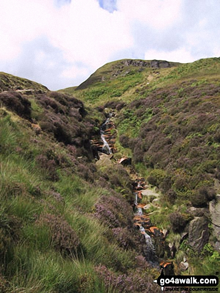 Crowden Great Brook near Laddow Rocks. Walk route map d213 Black Chew Head (Laddow Rocks) and The Longdenden Trail from Hadfield photo
