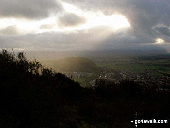 The sun breaks through the clouds from The Offa&#39;s Dyke Path<br>above Crag y Fran, Prestatyn. Walk route map dn143 Dyserth and The Offa&#39;s Dyke Path from Prestatyn photo