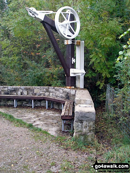 Restored machinery on the North Wales Path near Dyserth