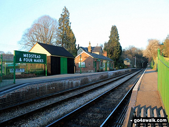 Walk ha123 Four Marks and Chawton Park Wood from Chawton - Medstead and Four Marks Railway Station on The Watercress Line