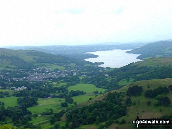 Ambleside and Windermere from Nab Scar. Walk route map c247 The Fairfield Horseshoe from Ambleside photo