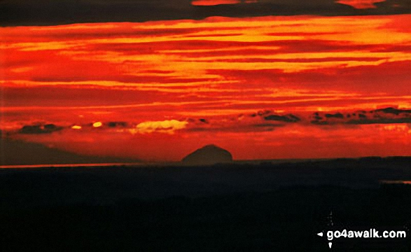 Sunset over Ailsa Craig (Paddy's Milepost)