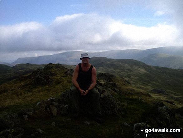 Peter on Angletarn Pikes. Walk route map c304 Beda Head and Place Fell from Howtown photo