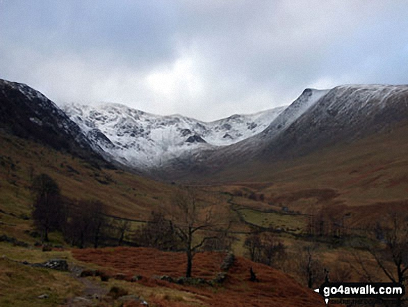 Snow on High Street from Haweswater Reservoir. Walk route map c114 High Street from Mardale Head photo