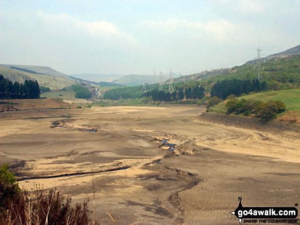 An empty Woodhead Reservoir from Crowden