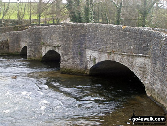 Sheepwash Bridge over the River Wye, Ashford in the Water. Walk route map d206 Monsal Dale and Ashford in the Water from Bakewell photo