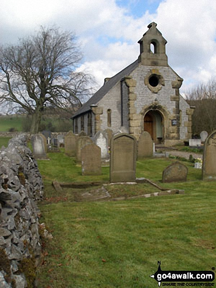 Little Longstone Church. Walk route map d206 Monsal Dale and Ashford in the Water from Bakewell photo