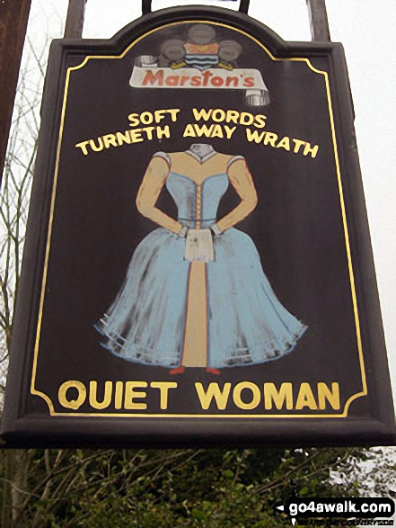 Sign for the Quiet Woman pub in Earl Sterndale.