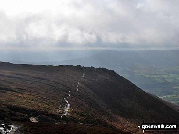 Ringing Roger, Kinder Scout. Walk route map d296 Jacob's Ladder and Kinder Scout from Edale photo