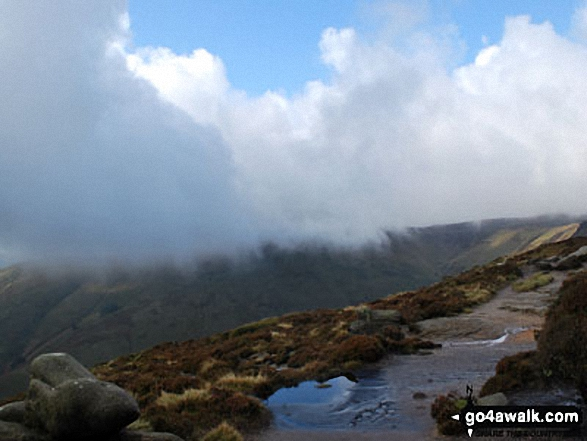 Mist and low cloud over Grindsbrook Clough, Kinder Scout. Walk route map d296 Jacob's Ladder and Kinder Scout from Edale photo