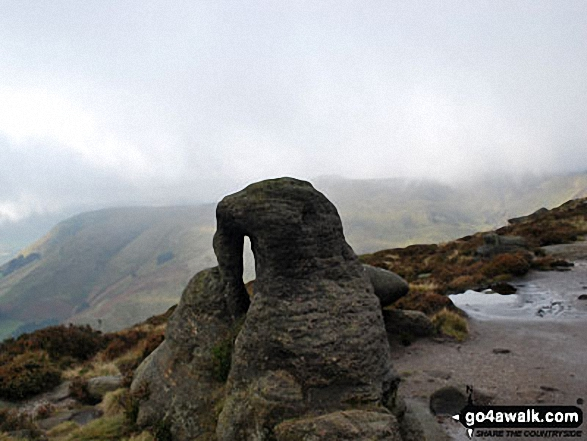 An interesting rock on the top of Upper Tor, Kinder Scout. Walk route map d296 Jacob's Ladder and Kinder Scout from Edale photo