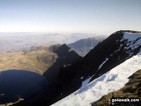 Striding Edge and Red Tarn (Helvellyn) from the summit of Helvellyn