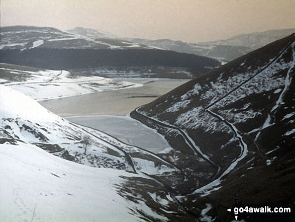 Looking down William Clough to a snowy and frozen Kinder Reservoir from near Mill Hill (Ashop Head), Kinder Scout