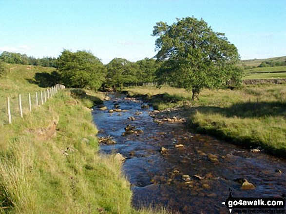 The River Hodder. Walk route map l126  Longridge Fell (Spire Hill) from Jeffrey Hill photo