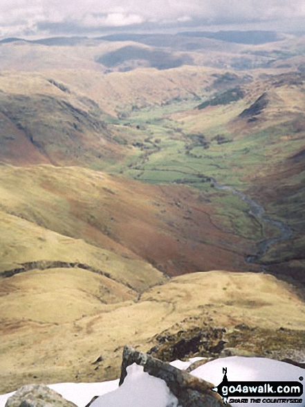 Great Langdale from Bow Fell (Bowfell). Walk route map c110 The Eskdale Skyline from Wha House Farm, Eskdale photo