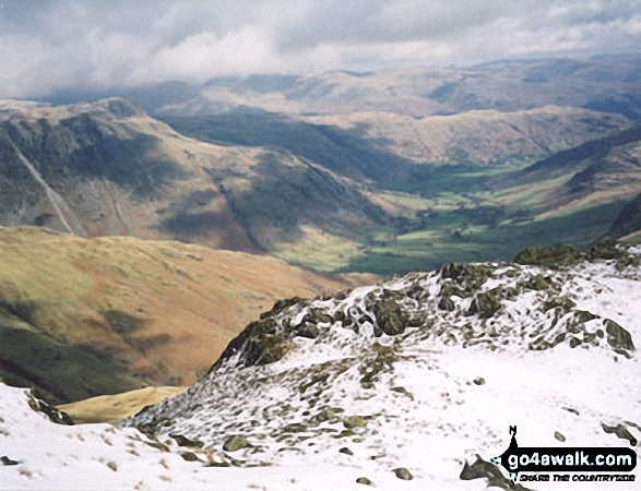 Walk c108 Crinkle Crags from The Old Dungeon Ghyll, Great Langdale - Great Langdale from Crinkle Crags (Long Top)