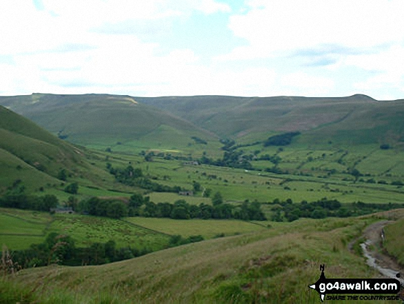 Hope from Upper Booth. Walk route map d296 Jacob's Ladder and Kinder Scout from Edale photo