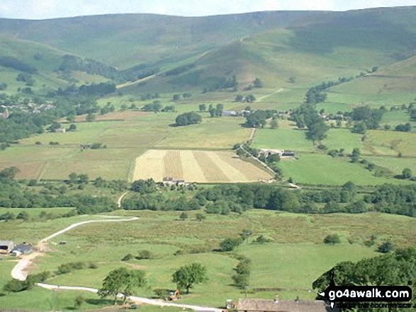 Edale from Hollins Cross. Walk route map d123 Mam Tor via Cavedale from Castleton photo