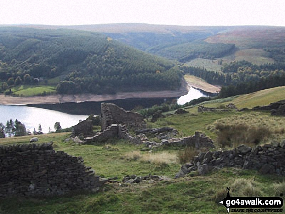 Bamford House (ruin) and Derwent Reservoir