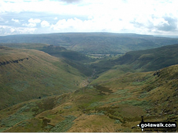 Bareholme Moss (left), Crowden, The Woodhead Valley and Bleaklow (centre) and Rakes Moss (right) from Black Chew Head (Laddow Rocks)