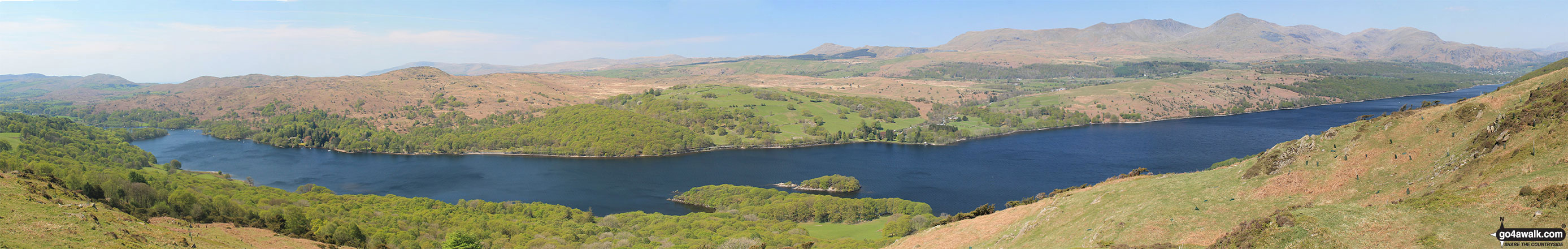 Coniston Water with Beacon (Blawith Fells), Caw (Dunnerdale Fells),  White Maiden, Walna Scar, Dow Crag and The Old Man of Coniston (right) from Great Hill (Consiton)