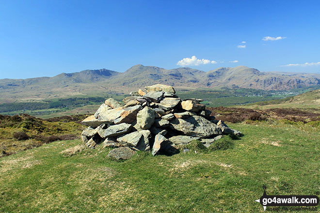 Top o' Selside summit cairn with the Coniston Fells: White Maiden, Walna Scar, Dow Crag, The Old Man of Coniston, Brim Fell, Swirl How and Wetherlam as a backdrop