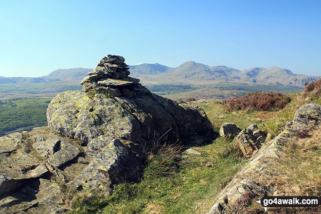High Light Haw (Top o' Selside) summit cairn with the Coniston Fells: White Maiden, Walna Scar, Dow Crag, The Old Man of Coniston, Brim Fell, Swirl How and Wetherlam in the background