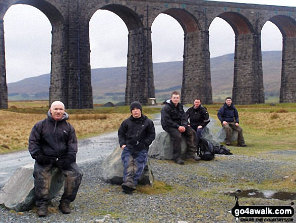 Some of the team at Ribblehead Viaduct on The Yorkshire Three Peaks Challenge